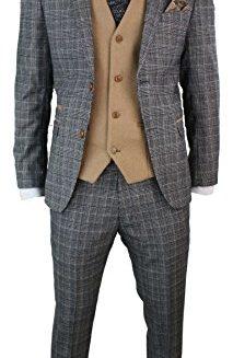 Mens-Grey-Check-Herringbone-Tweed-Vintage-3-Piece-Tailored-Fit-Suit-Oak-Brown-0