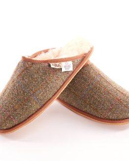 Mens-Harris-Tweed-Chestnut-Herringbone-Slippers-0