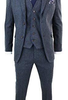 Mens-Herringbone-Tweed-3-Piece-Suit-Vintage-Tailored-Fit-Brown-Suede-Patch-Blue-0