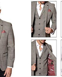 Mens-Marc-Darcy-Designer-Grey-Vintage-Tweed-Herringbone-Check-Blazer-or-Waistcoat-0