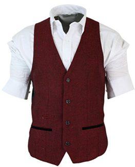 Mens-Slim-Fit-Burgundy-Maroon-Black-Herringbone-Tweed-Vintage-Retro-Waistcoat-0