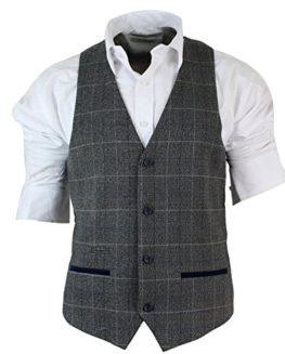 Mens-Slim-Fit-Check-Grey-Tan-Brown-Waistcoat-Smart-Casual-Tweed-Check-Navy-0