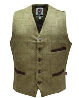Mens-Tweed-Herringbone-Vest-Waistcoat-Wool-Vintage-Slim-Fit-by-WWK-WorkWear-King-0