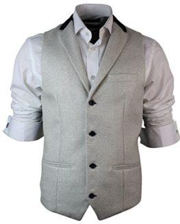 Mens-Vintage-Retro-Tweed-Waistcoat-Herringbone-Cream-Black-Trim-Slim-Fit-0