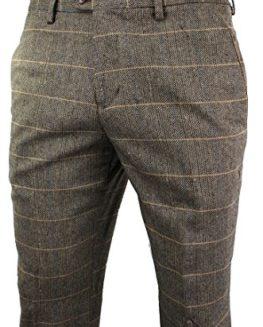 Mens-Vintage-Tweed-Check-Trouser-Herringbone-Tan-Brown-Slim-Fit-Regular-0