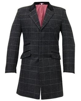 Mens-Wool-Mix-Trench-Coat-Checked-Jacket-Herringbone-Tweed-Overcoat-Lined-Winter-0