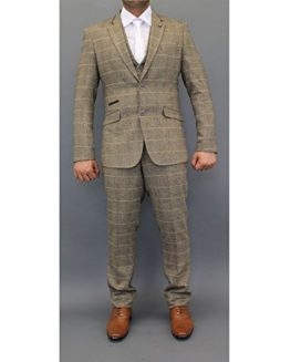 Mens-Wool-Mix-Tweed-Checked-Blazers-Waistcoats-Trouser-3-Piece-Suits-By-Cavani-0