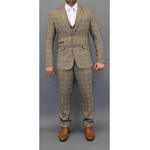 Cavani Mens Wool Mix Tweed Checked Blazers Waistcoats