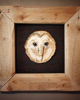 Owl-Framed-Hand-Sculpted-Piece-mounted-on-Scottish-Borders-Tweed-0
