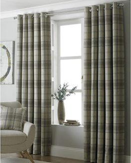Paoletti-Aviemore-90x72-Natural-Tartan-Tweed-Eyelet-Curtains-0