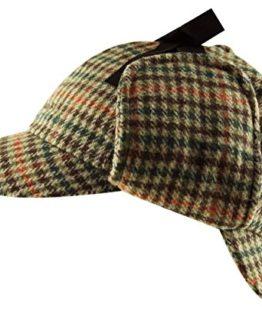 Tweed Deerstalker Sherlock Holmes Hat Wool Country Check Two Peaks Ear Flaps  Unisex Brown ad8a96b84705