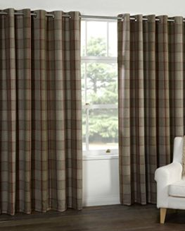 WOOL-touch-Heavy-Lined-TARTAN-Tweed-Plaid-Curtains-Red-Natural-PATIO-LIVING-This-Size-0