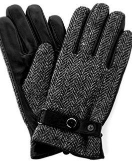 Harris-Tweed-Luxury-Designer-Adult-Leather-Wool-Mens-Gloves-Woollen-Winter-Warm-0
