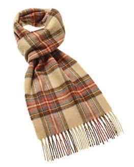 Antique-Dress-Stewart-lambswool-beigered-tartan-check-long-scarf-BRITISH-MADE-0