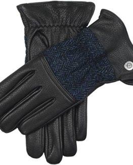 BlackNavy-Galloway-Harris-Tweed-and-Deerskin-Leather-Gloves-by-Dents-0