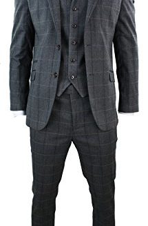 Cavani-Mens-3-Piece-Grey-Blue-Check-Tweed-Herringbone-Vintage-Slim-Fit-Suit-0