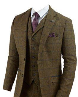 Cavani-Mens-3-Piece-Tweed-Wool-Suit-Tan-Brown-Check-Retro-Slim-Fit-Jacket-Waistcoat-Trousers-0