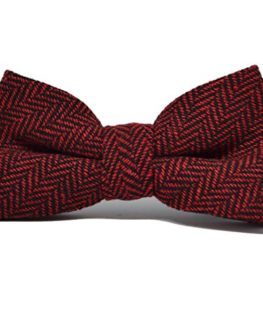 Cranberry-Red-Black-Herringbone-Bow-Tie-Pocket-Square-Set-0-0