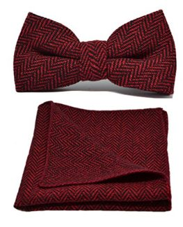 Cranberry-Red-Black-Herringbone-Bow-Tie-Pocket-Square-Set-0