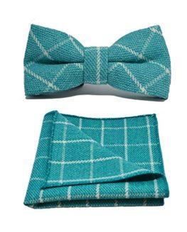 Cyan-Birdseye-Check-Bow-Tie-Pocket-Square-Set-0