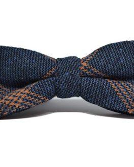 Denim-Blue-Orange-Birdseye-Check-Bow-Tie-0