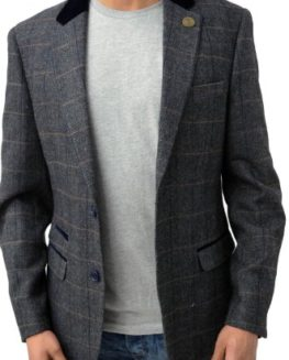 Designer-Marc-Darcy-Mens-Regular-Fit-Checkered-Blazer-Jacket-DX7-Charcoal-0