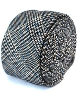 Frederick-Thomas-black-and-grey-check-with-subtle-blue-stripe-100-wool-tweed-tie-0