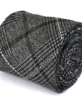 Frederick-Thomas-black-and-grey-checked-tweed-wool-tie-0