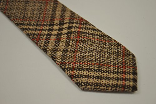 Frederick Thomas Brown And Red Checked 100 Tweed Wool Tie