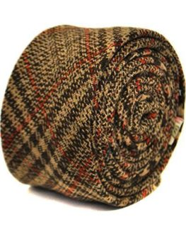 Frederick-Thomas-brown-and-red-checked-100-tweed-wool-tie-0