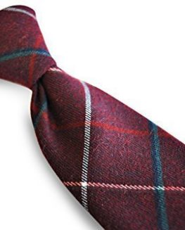 Frederick-Thomas-mens-wool-tweed-tie-in-dark-red-with-red-and-blue-check-0