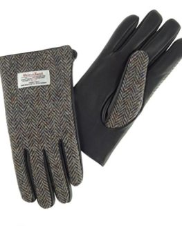 Gents-Genuine-100-Harris-Tweed-Leather-Gloves-Brown-Herringbone-LB3002-COL7-0