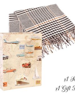 Gift-set-of-Luxury-Beige-PlaidCheck-Dogtooth-Tassel-Scarf-with-Gift-Bag-Traditional-Highland-Style-Winter-Scarf-Ideal-Stocking-Filler-Gift-for-Him-W30-x-L180-cm-0