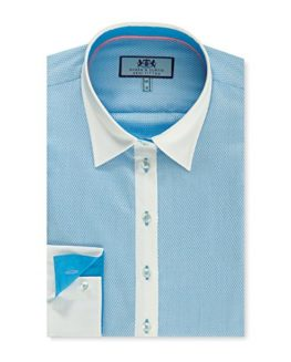 HAWES-CURTIS-Womens-Blue-White-Dobby-Semi-Fitted-Shirt-Single-Cuff-0