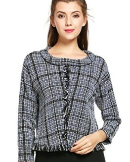 HOTOUCH-Womens-Roll-Neck-Plaid-Tassel-Pullover-Sweater-Blouse-Tweed-Top-0