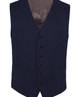 Hann-Brooks-Navy-Blue-Mens-Wool-Tweed-Slim-Fitted-Vest-Waistcoat-S-M-L-XL-2XL-3XL-0