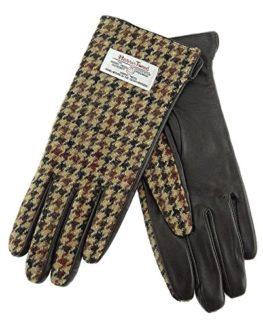 Harris-Tweed-Ladies-Genuine-Leather-Gloves-Brown-Dogtooth-LB3001-COL27-0