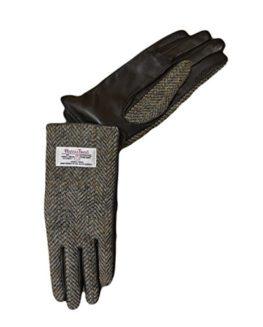 Harris-Tweed-Ladies-Gloves-Brown-Lovat-Herringbone-0