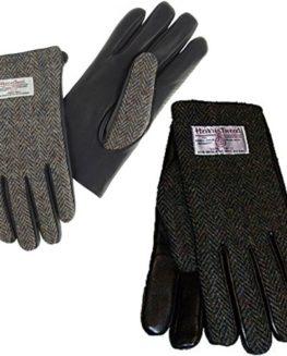 Harris-Tweed-Mens-Herringbone-and-Black-Leather-Gloves-0