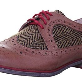 Justin-Reece-Women-Leather-Tweed-Brogue-Lace-up-0