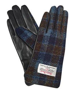 Ladies-100-Harris-Tweed-Leather-Blue-Check-Gloves-LB3001-Col40-0