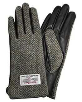 Ladies-100-Harris-Tweed-Leather-Brown-Herringbone-Gloves-LB3001-0