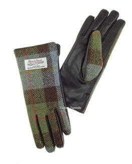 Ladies-100-Harris-Tweed-Leather-Gloves-Green-Check-Tartan-LB3001-0