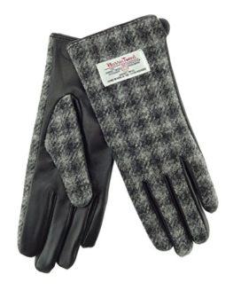 Ladies-100-Harris-Tweed-Leather-GreyBlack-Check-Gloves-LB3000-Col61-0