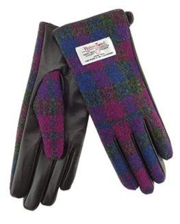 Ladies-100-Harris-Tweed-Leather-Heather-Check-Gloves-LB3001-Col54-0