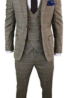 Marc-Darcy-Mens-3-Piece-Herringbone-Tweed-Tan-Brown-Check-Suit-Tailored-Fit-Double-Classic-0
