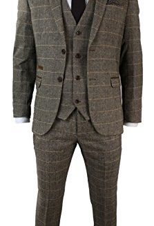 Marc-Darcy-Mens-Check-Vintage-Herringbone-Tweed-Tan-Brown-3-Piece-Suit-Slim-Fit-Wedding-0