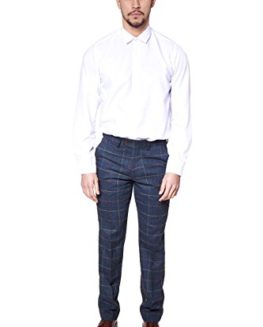 Marc-Darcy-Mens-Designer-Navy-Multi-Tonal-Check-Tweed-Tailored-Trousers-Size-28-46-Available-0