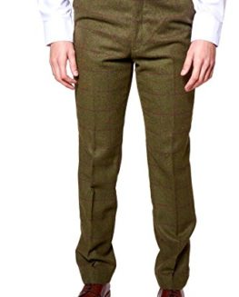 Marc-Darcy-Mens-Designer-Tweed-Olive-Green-Wine-Check-Tailored-Trousers-Size-28-46-Available-0