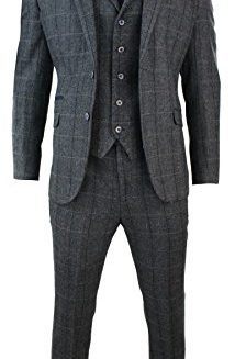Mens-3-Piece-Classic-Tweed-Herringbone-Check-Grey-Navy-Slim-Fit-Vintage-Suit-0